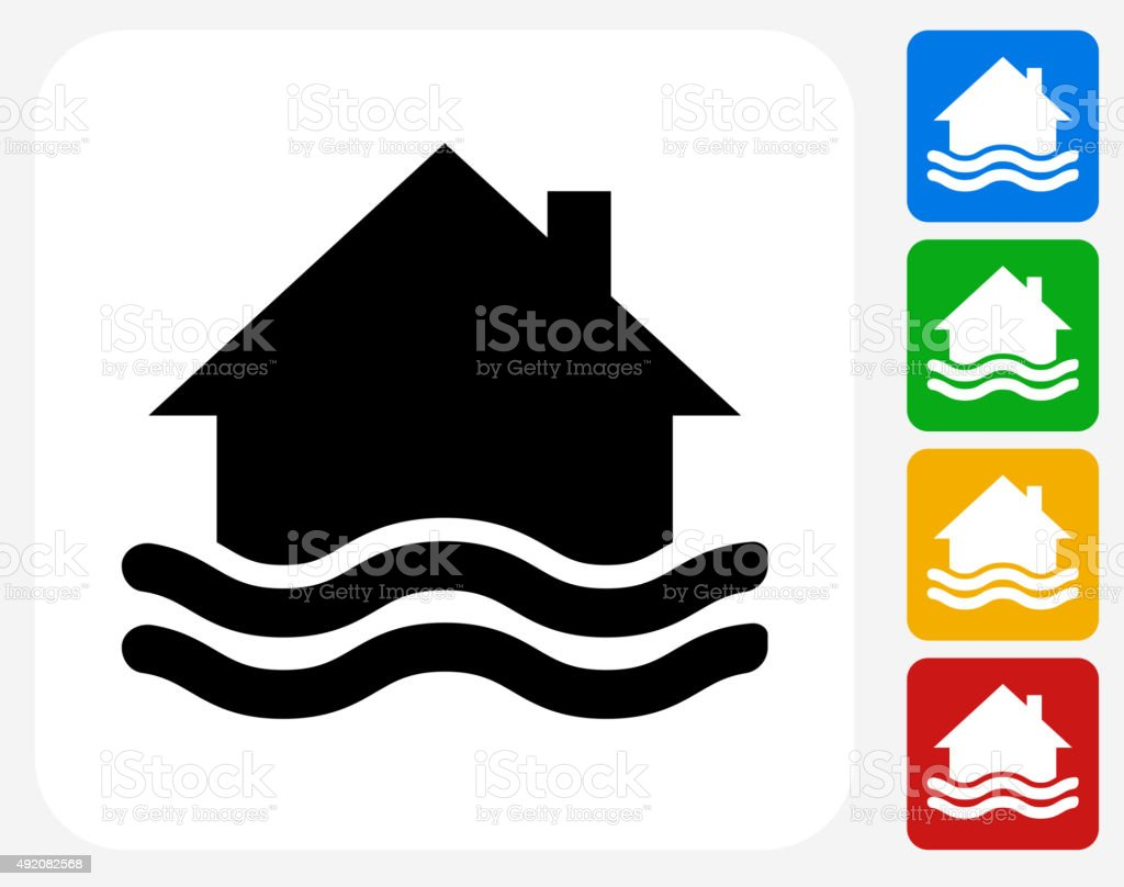 House Flooding Icon Flat Graphic Design