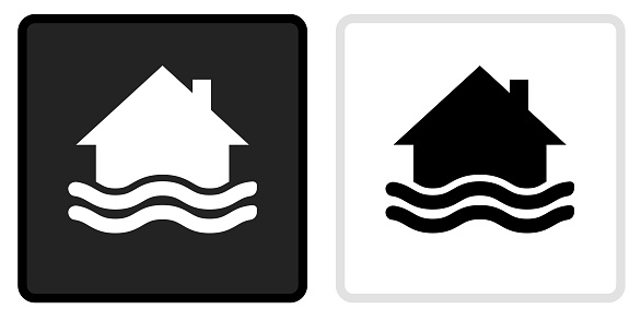House Flooding Icon on  Black Button with White Rollover