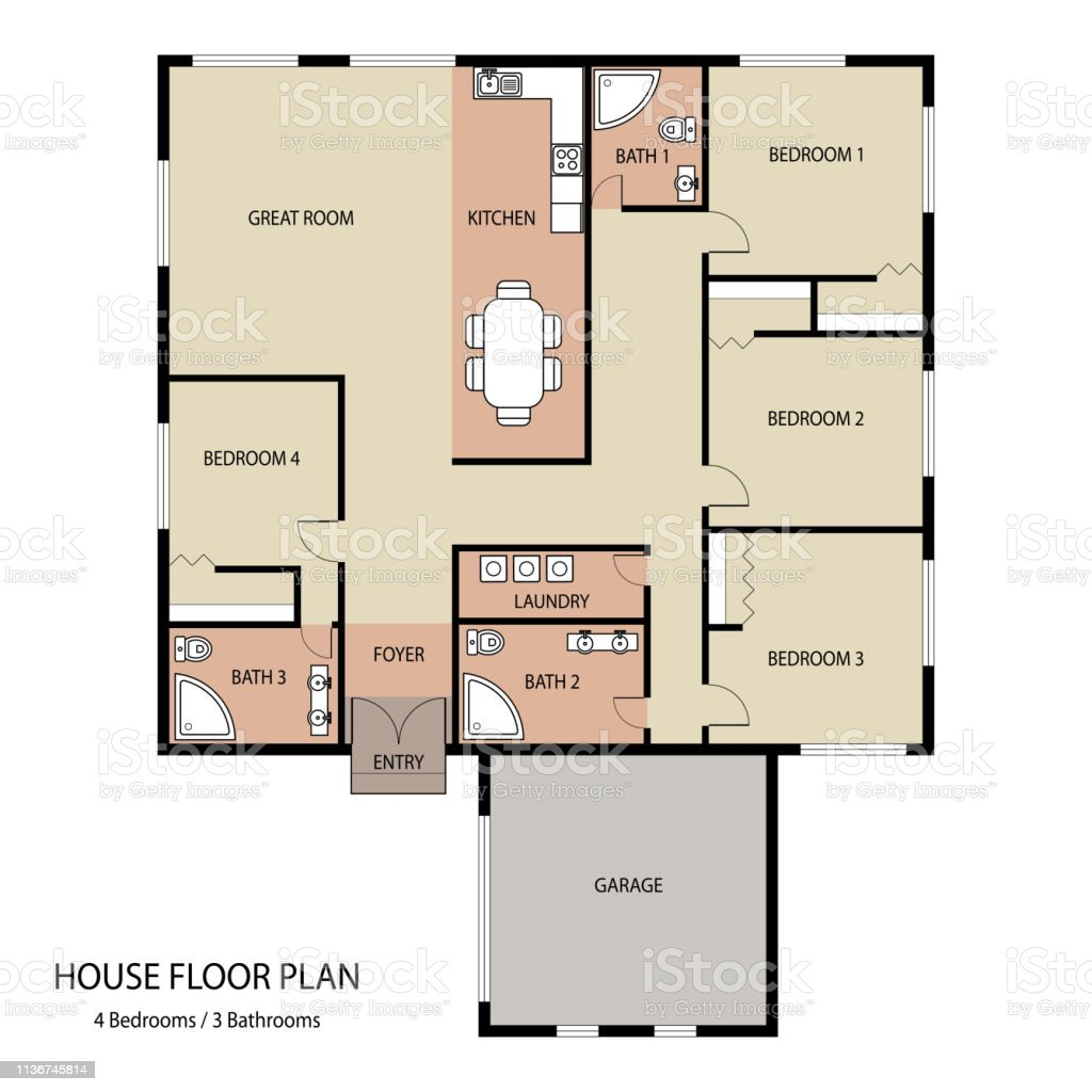 House Floor Plan With Furniture And Garage Stock Illustration Download Image Now Istock
