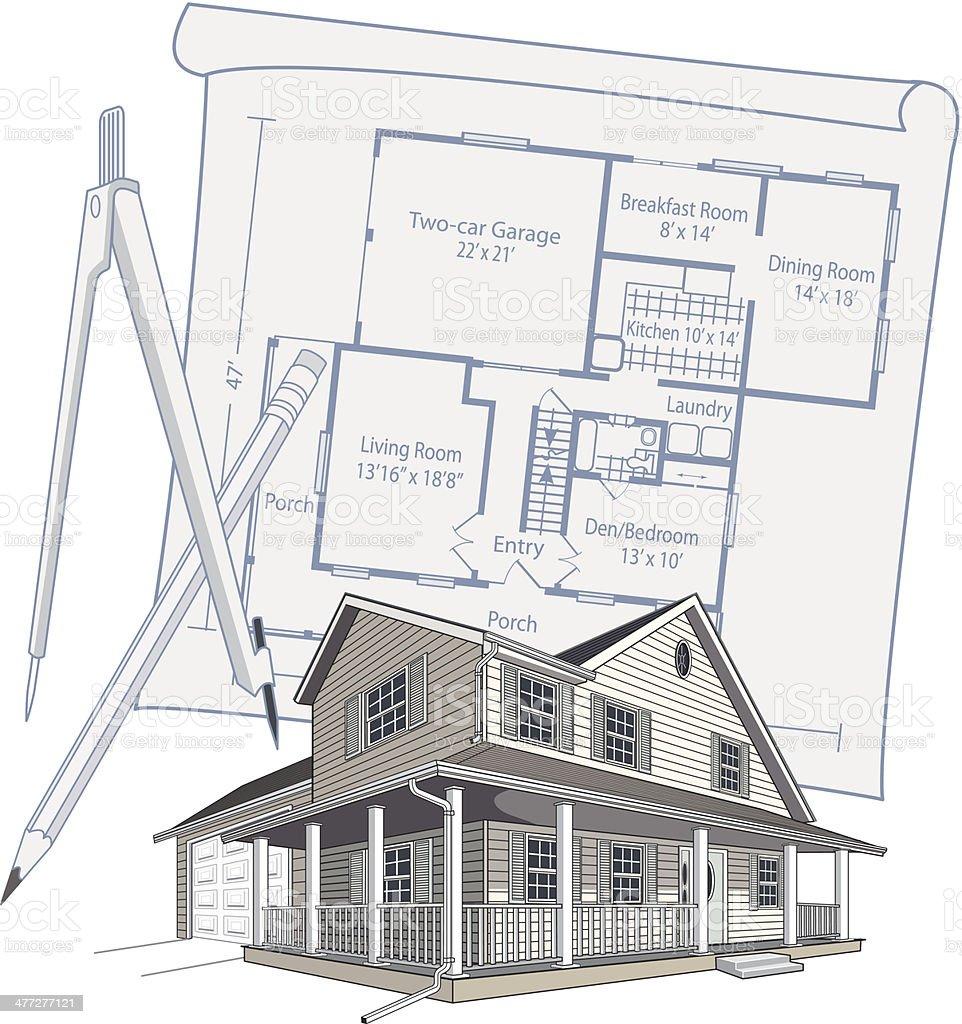 House Floorplan vector art illustration