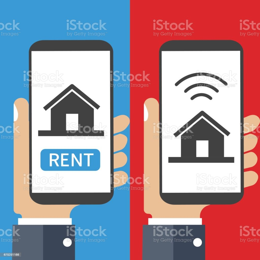 House for rent icon vector art illustration