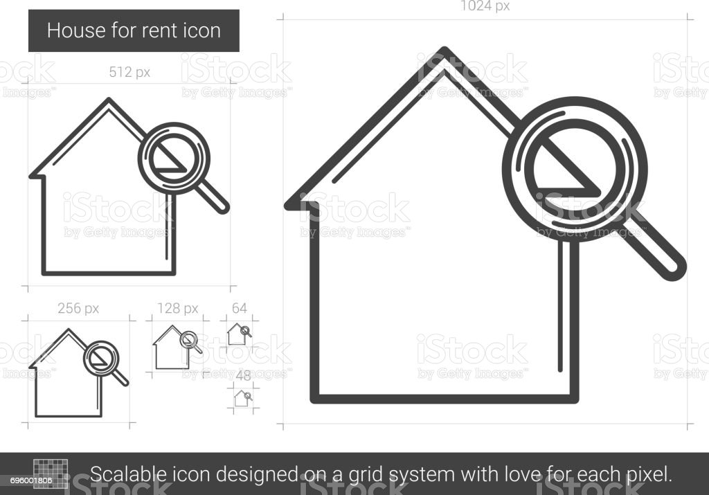House for rent line icon vector art illustration