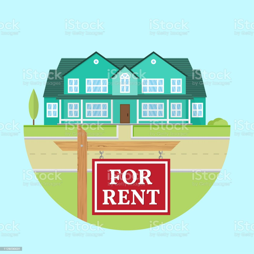Houses For Rent Website: House For Rent Vector Flat Suburban American House For Web