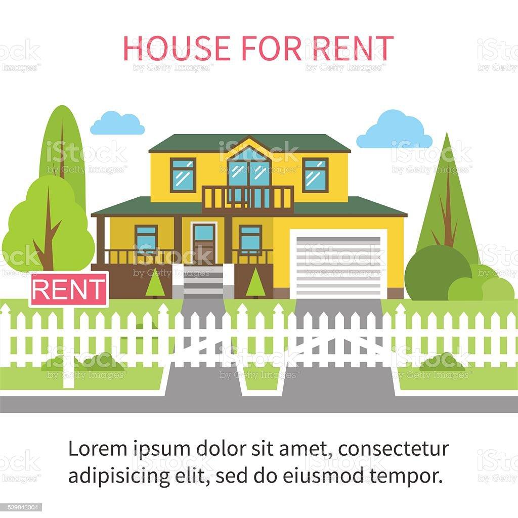 House for rent. vector art illustration