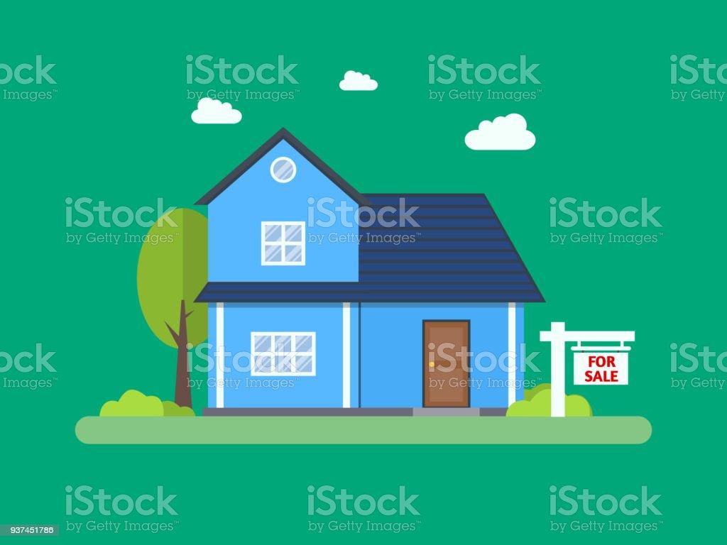 Haus Zum Verkauf Haus Und Zeichen Im Vordergrund Immobilien ...