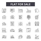 House for sale line icons for web and mobile design. Editable stroke signs. House for sale  outline concept illustrations