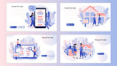 House for sale. Real estate business concept with houses. Screen template for mobile smart phone, landing page, template, ui, web, mobile app, poster, banner, flyer. Modern flat cartoon style. Vector