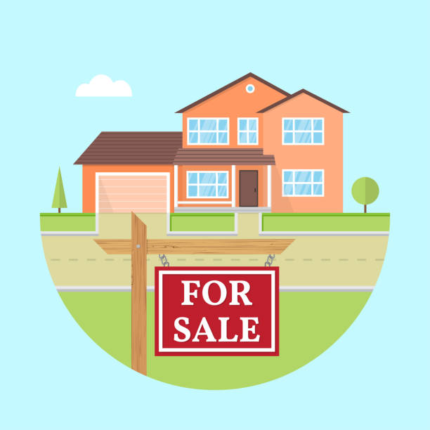 illustrazioni stock, clip art, cartoni animati e icone di tendenza di house for sale. vector flat icon suburban american house. for web design and application interface useful for infographics. family house icon isolated on white background. real estate. - real life