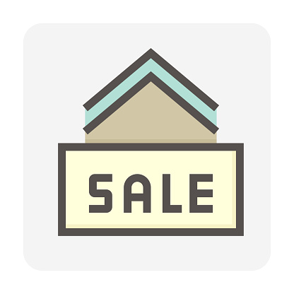House for sale vector icon design. 48x48 pixel perfect and editable line stroke.