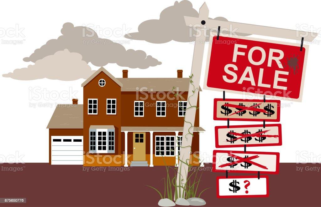 House for sale vector art illustration