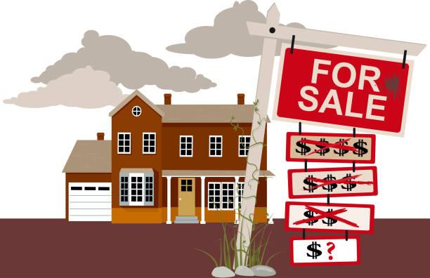 ilustraciones, imágenes clip art, dibujos animados e iconos de stock de casa en venta  - embargo hipotecario