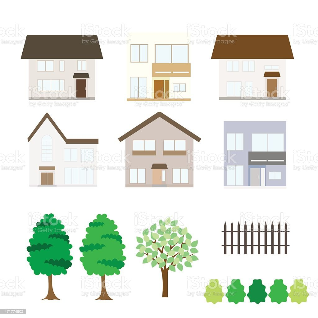 House fronts and lawn icons in three rows  vector art illustration