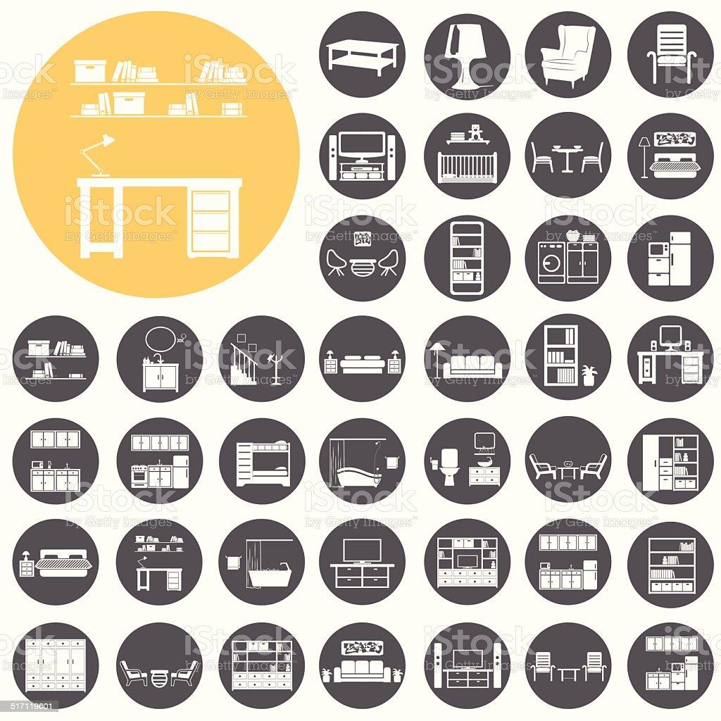 Haus Möbel im Inneren-icon-set.  Vektor-Illustration eps10 – Vektorgrafik
