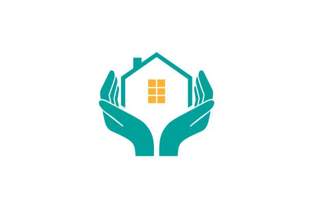 bildbanksillustrationer, clip art samt tecknat material och ikoner med house holding care logo typ vektor design illustration - bebyggelse