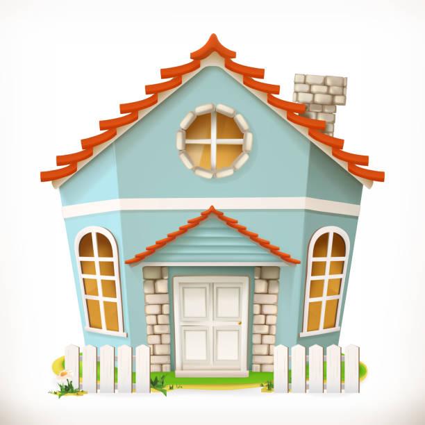 haus, heim. 3d vektor icon - landhaus stock-grafiken, -clipart, -cartoons und -symbole
