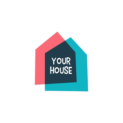 house home casa overlapping color vector icon illustration