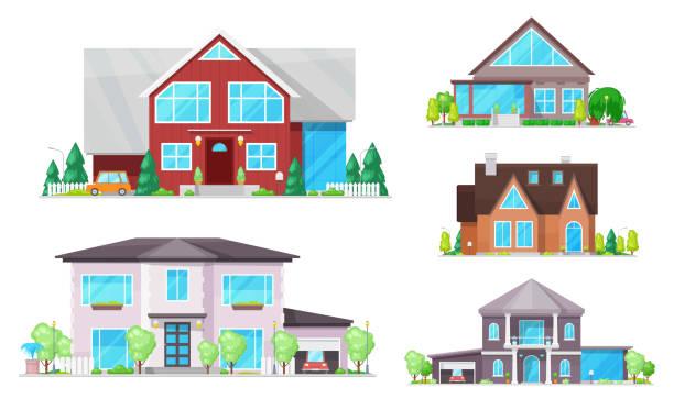 haus, haus, cottage-gebäude mit dächern, fenster - ziegelwände stock-grafiken, -clipart, -cartoons und -symbole
