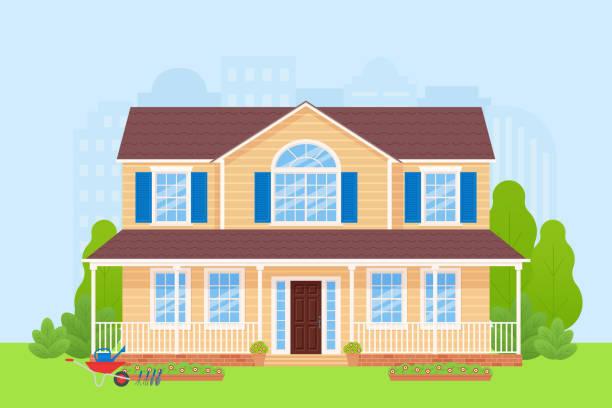 ilustrações de stock, clip art, desenhos animados e ícones de house home facade exterior. vector illustration in flat design. - isolated house, exterior