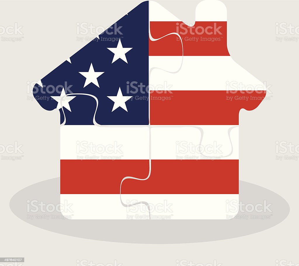 house home icon with USA flag in puzzle vector art illustration