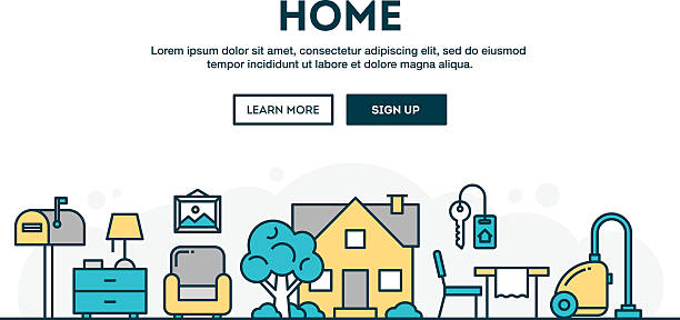 house, home, interior, colorful concept header, flat design thin line - schlüsselkasten stock-grafiken, -clipart, -cartoons und -symbole