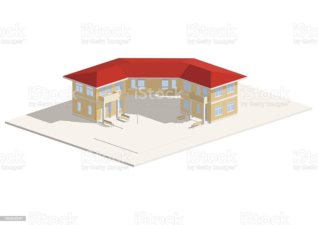 3D house hotel isometric with red roof royalty-free stock vector art