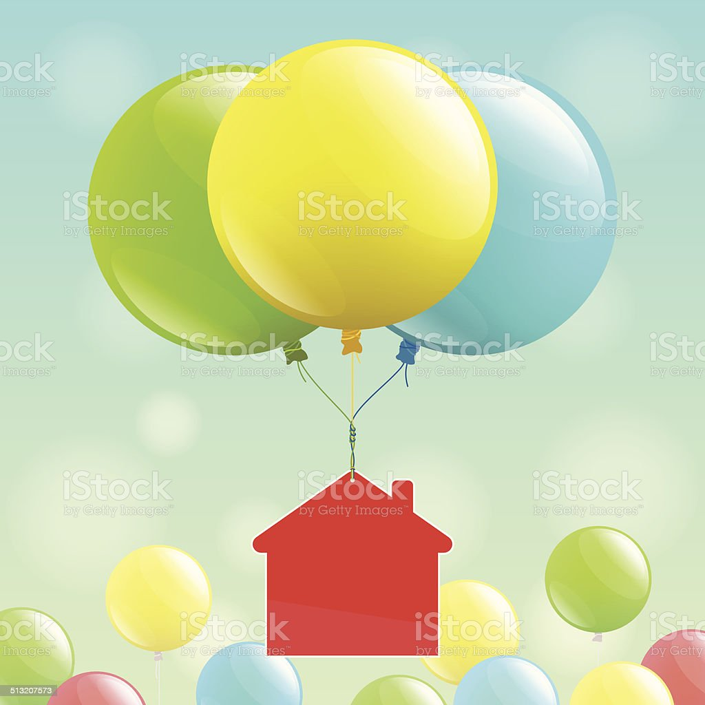 House icon and colored balloons vector art illustration