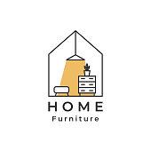 House logo, lamp, drawer shelf, home Furniture logo designs concept vector, Furniture logo template