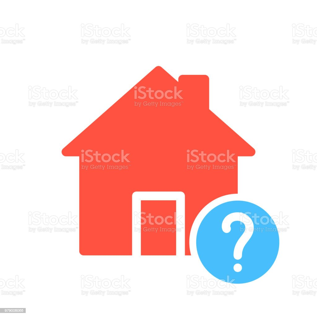 House icon, buildings icon with question mark. House icon and help, how to, info, query symbol vector art illustration