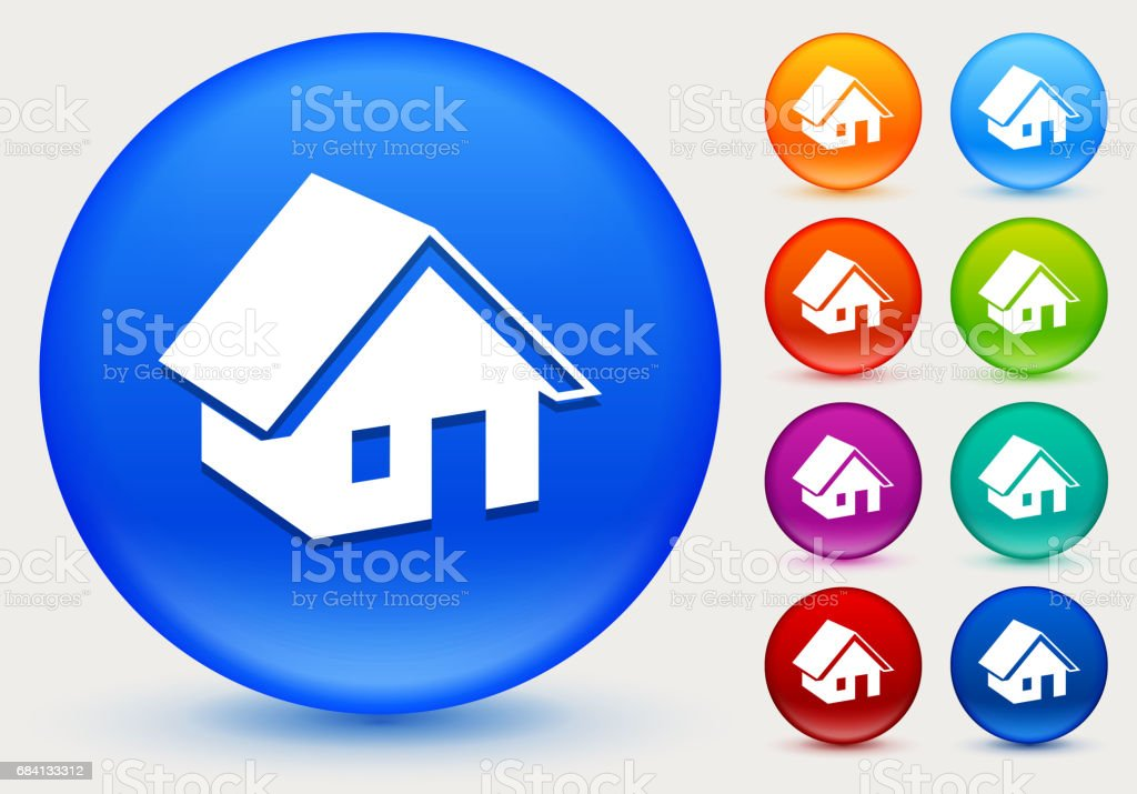 Huisje op glanzende kleur Circle knoppen royalty free huisje op glanzende kleur circle knoppen stockvectorkunst en meer beelden van architectuur