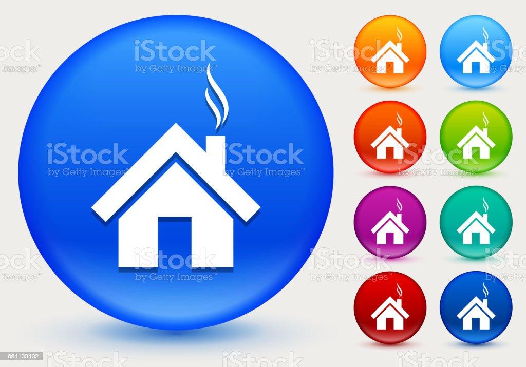 House Icon on Shiny Color Circle Buttons house icon on shiny color circle buttons - stockowe grafiki wektorowe i więcej obrazów architektura royalty-free