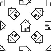 House icon seamless pattern on white background. Home symbol. Flat design. Vector Illustration