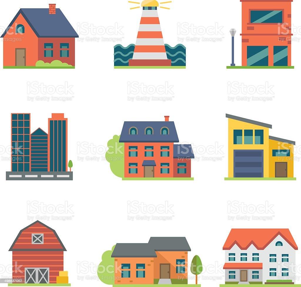 House Icon Set vector art illustration