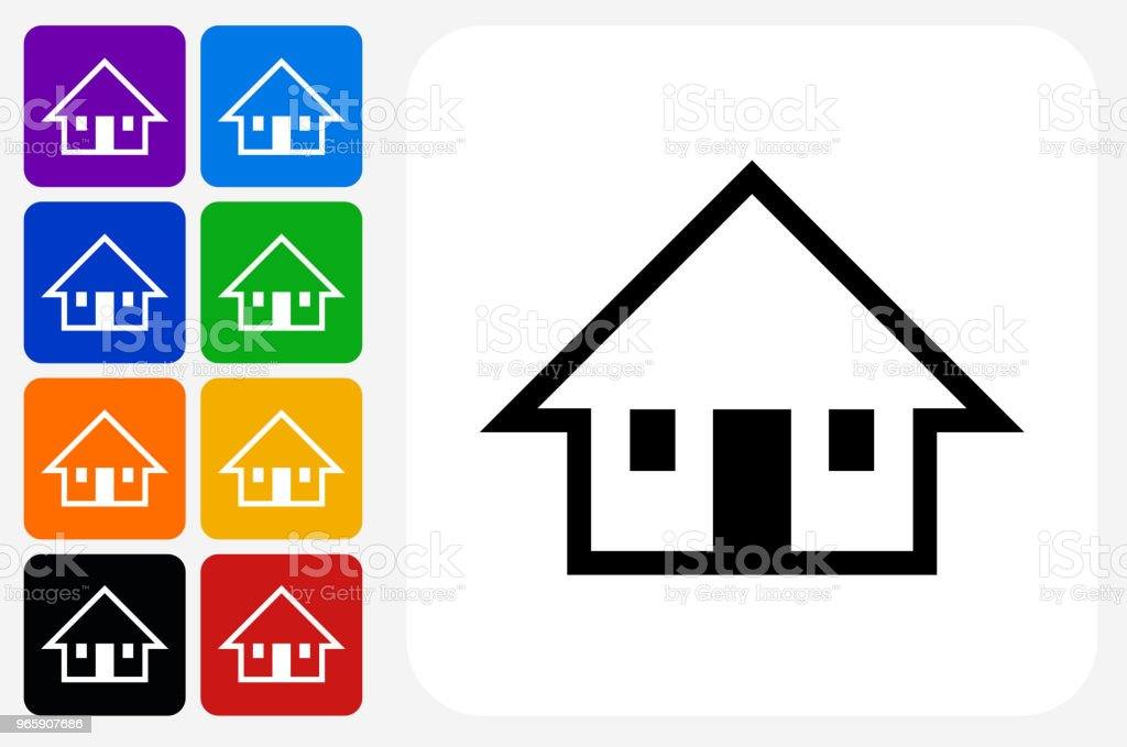 Huis pictogram vierkante knop Set - Royalty-free Architectuur vectorkunst