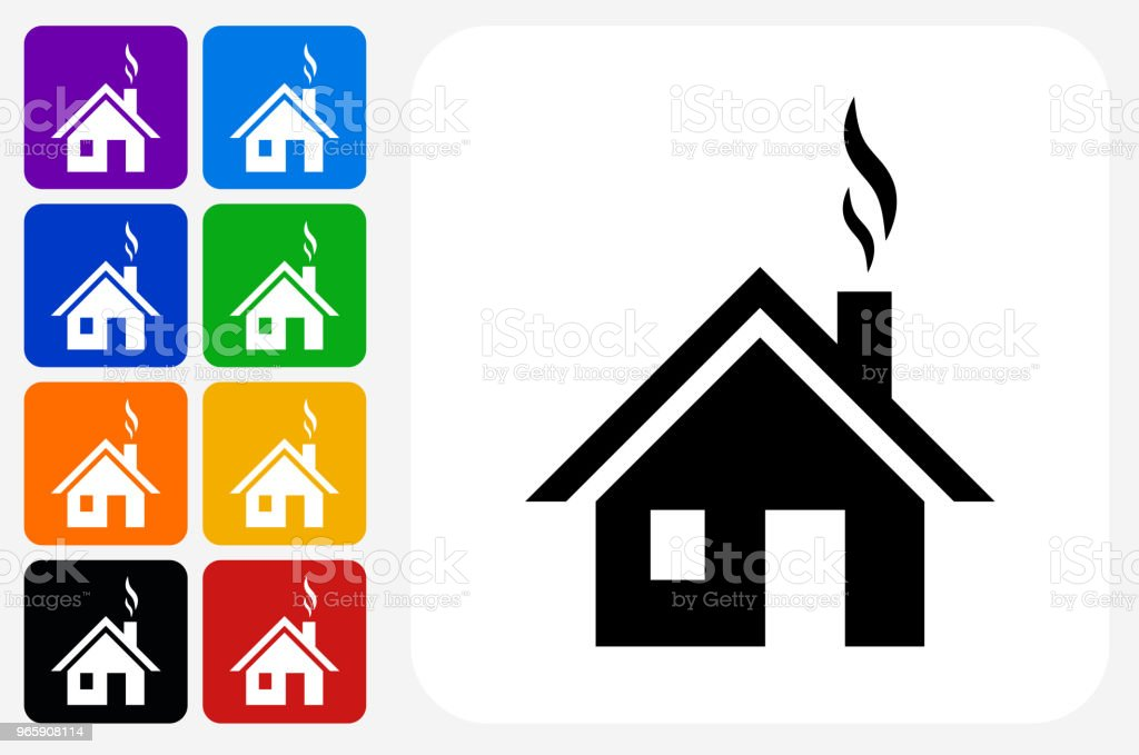 House Icon Square Button Set - Royalty-free Architecture stock vector