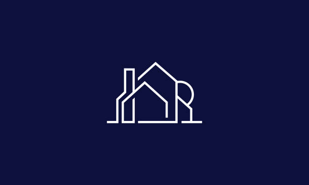 house logo icon vector line art - architecture silhouettes stock illustrations