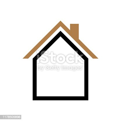 House icon vector simple flat symbol. Solid linear house logo
