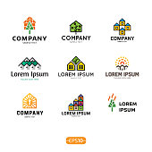 House icon design template set. Real estate badge concept isolated on background. Vector colorful eco home icontype, sign, symbol collection. Modern graphic building and sun housing label icon