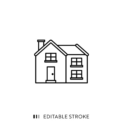 House Icon with Editable Stroke and Pixel Perfect.