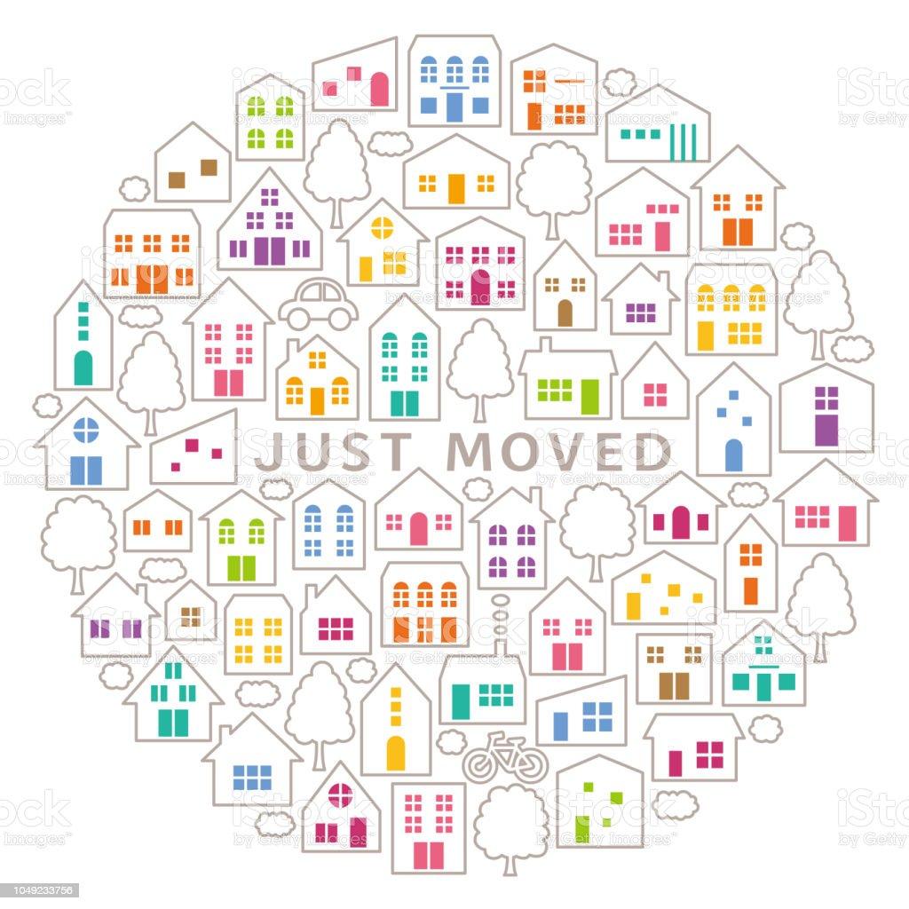 サークルのアイコン。house‐moving グリーティング カード。 ベクターアートイラスト