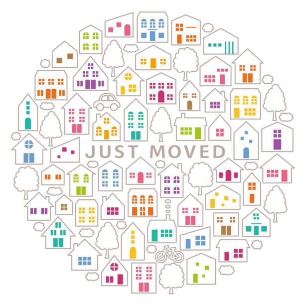 サークルのアイコン。house‐moving グリーティング カード。 - 新居点のイラスト素材/クリップアート素材/マンガ素材/アイコン素材