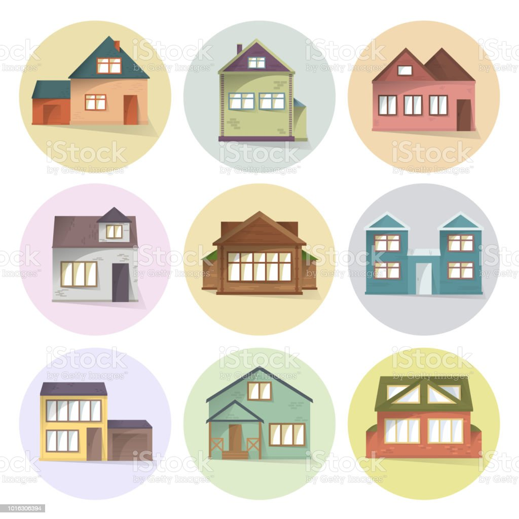 House Icons Set Different Type Of Houses Building Facades