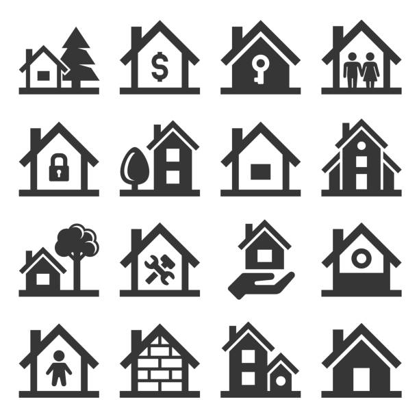 haus icons set on white background. vektor - haus stock-grafiken, -clipart, -cartoons und -symbole
