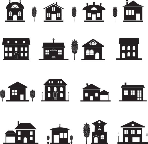 House icons. Set cottage icons. Black isolated house silhouette. Vector illustration cottage stock illustrations