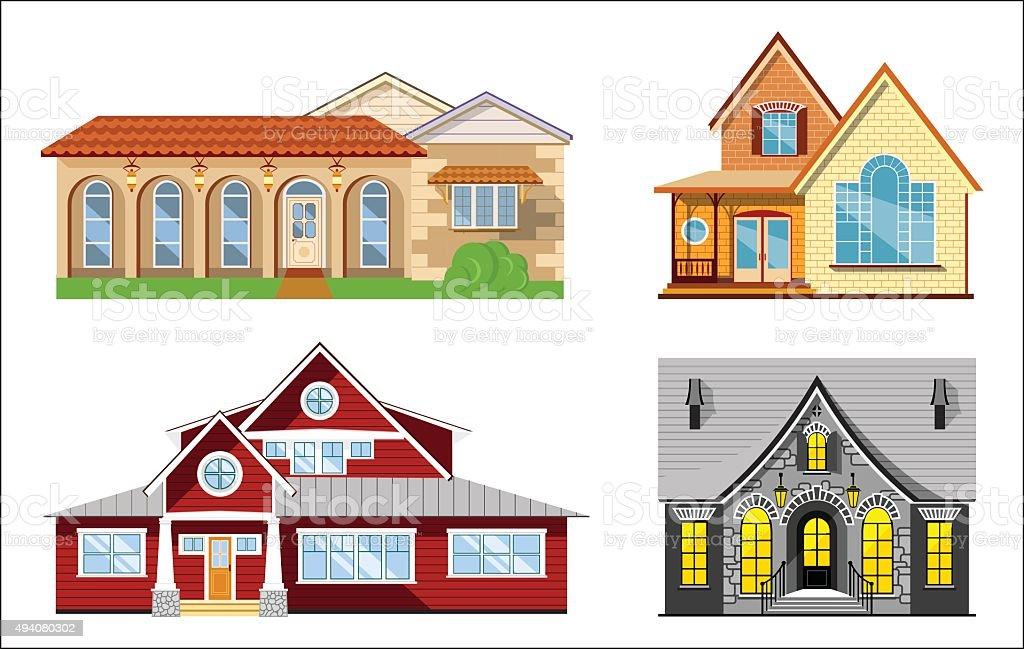 House illustration set vector art illustration