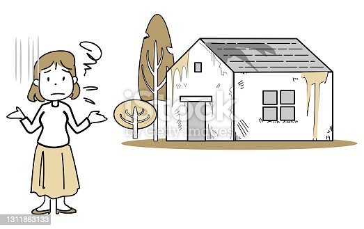 istock House Illustration Simple Line-A miserably desolate house 1311863133