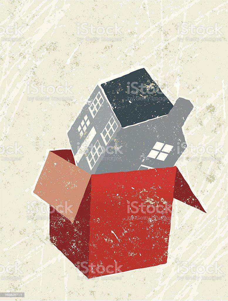 Casa en una caja - ilustración de arte vectorial