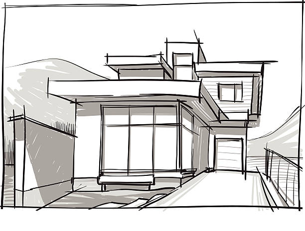 house in a mountain. sketch vector art illustration