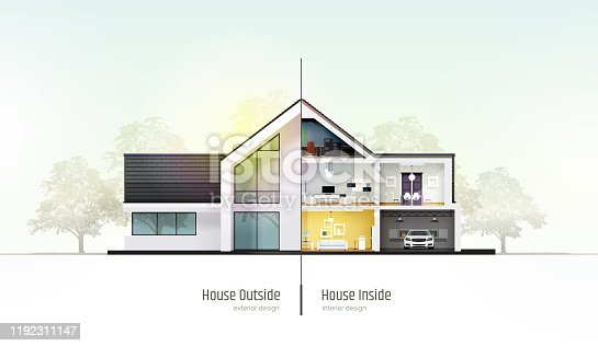 istock House in cross-section. Modern house, villa, cottage, townhouse with shadows. Architectural visualization of a three storey cottage inside and outside. Realistic vector illustration. 1192311147