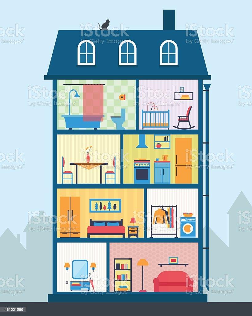 Haus In Schnitt. Detaillierte Modernen Haus Innen. Lizenzfreies Haus In  Schnitt Detaillierte Modernen Haus