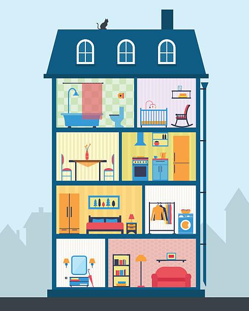 haus in schnitt. detaillierte modernen haus innen. - küchensystem stock-grafiken, -clipart, -cartoons und -symbole